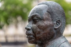 Martin Luther King Jr bust. PENSACOLA, FLORIDA - APRIL 8: A bust of Martin Luther King, Jr is displayed in a plaza in Pensacola, Florida royalty free stock photography