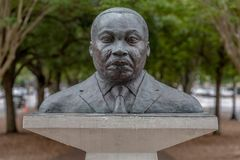 Martin Luther King Jr bust. PENSACOLA, FLORIDA - APRIL 8: A bust of Martin Luther King, Jr is displayed in a plaza in Pensacola, Florida stock images