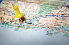 Pensacola, Florida. A map of Pensacola, Florida marked with a push pin stock photography