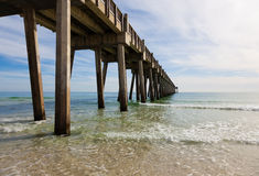 Pensacola pier with sun shining through Stock Images