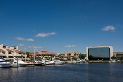 Pensacola Skyline. The Pensacola, Florida city skyline looking north from the yacht basin royalty free stock photos