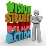 Pensador de la acción del plan de la estrategia de Vision al lado de las palabras 3D Imagen de archivo