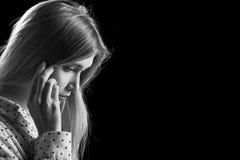 Pensador triste de la muchacha Fotografía de archivo