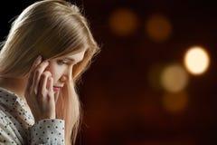 Pensador triste de la muchacha Foto de archivo