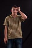 Pensador y adolescente triste con la mano en su cabeza Imagen de archivo