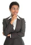 Pensamento afro-americano da mulher de negócios Fotografia de Stock Royalty Free