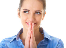 Pensamento ansioso, mulher de negócios isolada no branco Fotos de Stock
