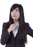 Pensamento asiático novo das mulheres de negócios foto de stock royalty free