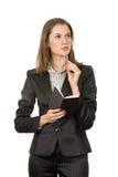Pensamento atrativo da mulher de negócios Foto de Stock