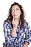 Pensamento azul da expressão da mulher Fotografia de Stock