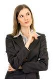 Pensamento bonito da mulher de negócio. Isolado no branco Imagem de Stock Royalty Free