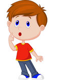Pensamento bonito dos desenhos animados do menino Fotos de Stock Royalty Free