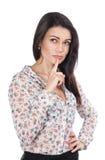 Pensamento bonito novo da mulher de negócio Foto de Stock