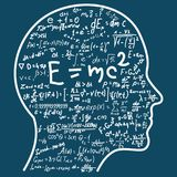Pensamento científico Esboço de fórmulas de enchimento da matemática e da física da cabeça Pode ilustrar os assuntos relativos à  Foto de Stock
