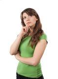 Pensamento da jovem mulher Imagem de Stock