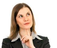 Pensamento da mulher de negócio. Isolado no branco Fotos de Stock Royalty Free