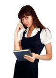 Pensamento da mulher de negócios imagem de stock