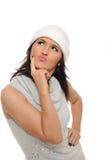 Pensamento da mulher do inverno de Expressions.Beautiful Foto de Stock Royalty Free