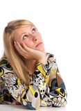 Pensamento da mulher nova Fotos de Stock