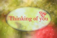 Pensamento de você ilustração do cartão ilustração royalty free