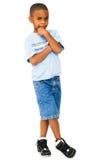 Pensamento do menino do African-American Fotos de Stock
