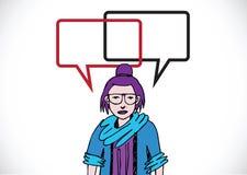Pensamento e povos dos povos que falam com bolhas do discurso do diálogo Imagens de Stock