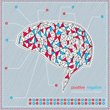 Pensamento em nosso cérebro: Positivo e negativo Ilustração Royalty Free