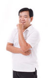 Pensamento envelhecido meio feliz, sorrindo do homem Imagem de Stock Royalty Free