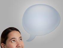 pensamento na bolha em branco azul do discurso ilustração stock