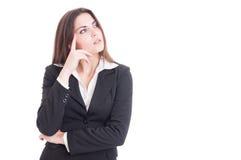 Pensamento novo visionário e esperto da mulher de negócio Foto de Stock