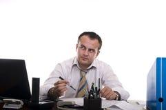 Pensamento ocupado do homem de negócios Imagens de Stock Royalty Free