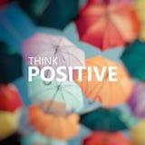 Pensamento positivo Guarda-chuva colorido do fundo Fotos de Stock Royalty Free