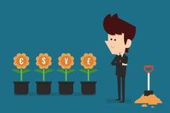 Pensamento sobre o investimento Imagens de Stock Royalty Free
