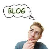 Pensamento sobre um blogue foto de stock