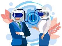 Pensamentos de transferência através de um capacete inteligente Uma comunicação dos homens de negócios, empregados No estilo mini ilustração do vetor