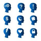Pensamentos e ícones humanos do modo Fotos de Stock Royalty Free