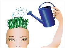 Pensamentos molhando da mulher em sua cabeça Fotografia de Stock Royalty Free