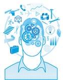 Pensamentos na cabeça do homem Foto de Stock
