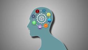 Pensamentos que aparecem no cérebro com roda denteada ilustração royalty free