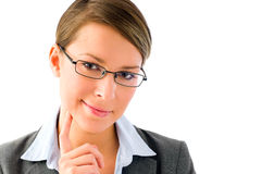 Pensamiento atractivo de la mujer de negocios Fotografía de archivo libre de regalías