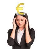 Pensamiento businesslady con la muestra euro Imagen de archivo
