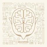 Pensamiento creativo de Infographic del hombre linear plano de la educación Fotos de archivo