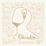 Pensamiento creativo de Infographic del hombre linear plano de la educación Foto de archivo