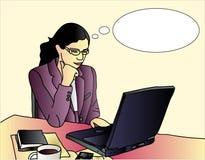 Pensamiento de la empresaria stock de ilustración