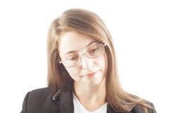 Pensamiento de la muchacha aislado en blanco Fotos de archivo libres de regalías