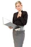 Pensamiento de la mujer de negocios Fotos de archivo libres de regalías