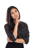 Pensamiento de la mujer de negocios de la raza mixta aislado en blanco Imagenes de archivo