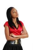 Pensamiento de la mujer de negocios del afroamericano Fotos de archivo libres de regalías
