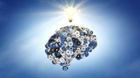 Pensamiento del cielo azul: cerebro mecánico ilustración del vector