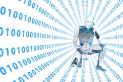 Pensamiento del robot abrumado en la información digital del túnel Imagen de archivo libre de regalías